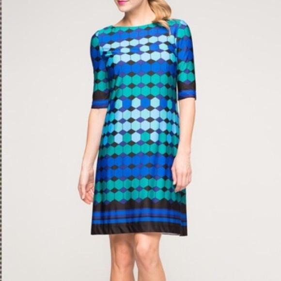 Eliza J Dresses & Skirts - Eliza J. Missy Geometric Blue Green Shift Dress